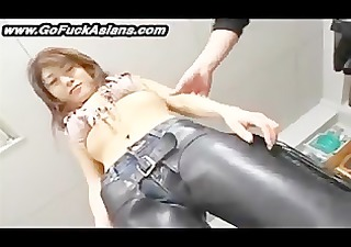 oriental bikerchick receives her cum-hole tickled